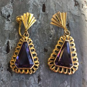 Retro 14kt Yellow Gold Alexandrite Screwback Earrings (Vintage)