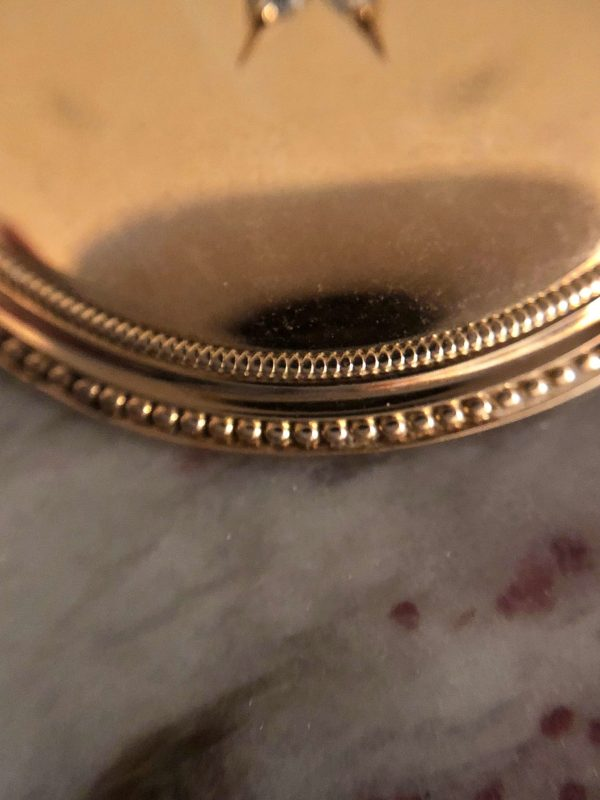 Vintage Diamond and 14kt Yellow Gold Pendant (former pocket watch case)