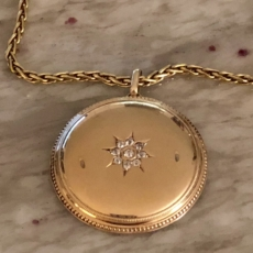 Vintage Diamond Yellow Gold Pocket Watch Case Pendant