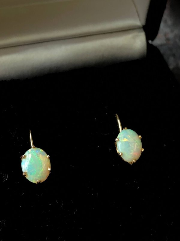 Retro Modern 14kt Yellow Gold Opal Solitaire Earrings (Vintage)