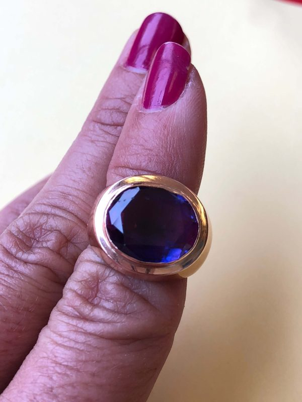 Retro Rose Gold Synthetic Color Change Sapphire Ring (Vintage)