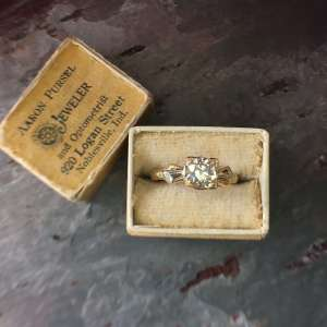 Victorian 14kt Gold Old European Cut Diamond Engagement Ring (Vintage)