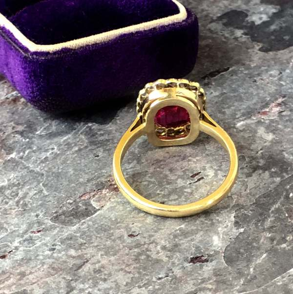 Victorian Ruby and Diamond Halo Ring (Vintage)