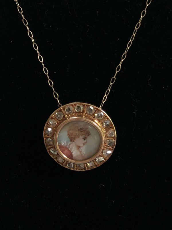 Victorian Yellow Gold Hand Painted Portrait Pendant with Diamond Surround (Vintage)