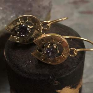 Victorian 14kt Yellow Gold Vintage Amethyst Horseshoe Earrings