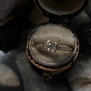 Vintage 14kt Yellow Gold Old European Cut Diamond Engagement Ring