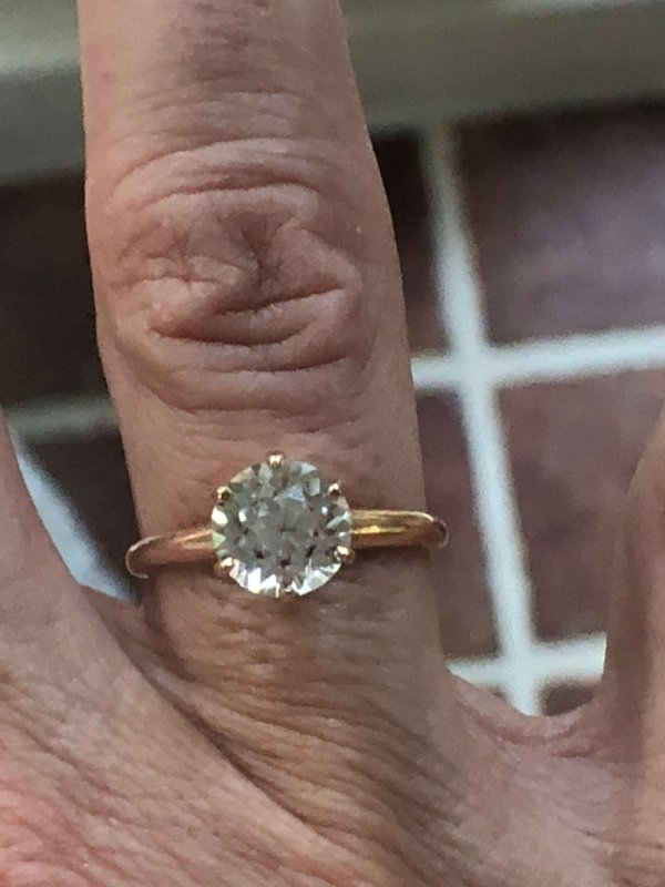 Ostby Barton 10kt Yellow Gold and White Sapphire Alternative Engagement Ring (Vintage)