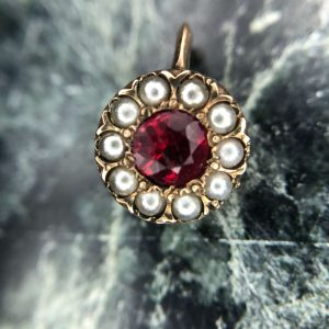Vintage 14kt Yellow Gold Paste Ruby and Seed Pearl Stick Pin Conversion Pendant
