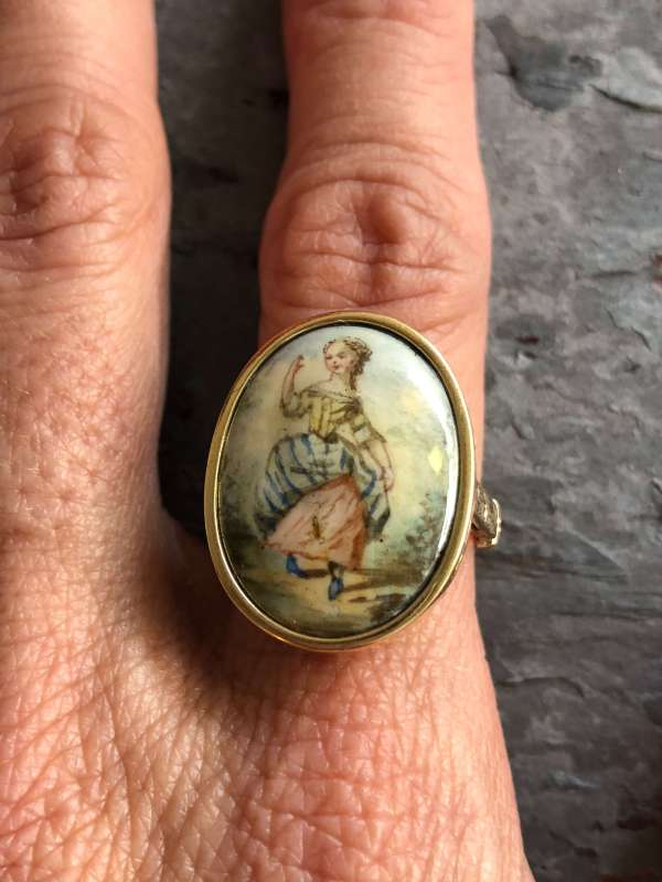 Victorian 14kt Yellow Gold Hand Painted Portrait Ring (Vintage)