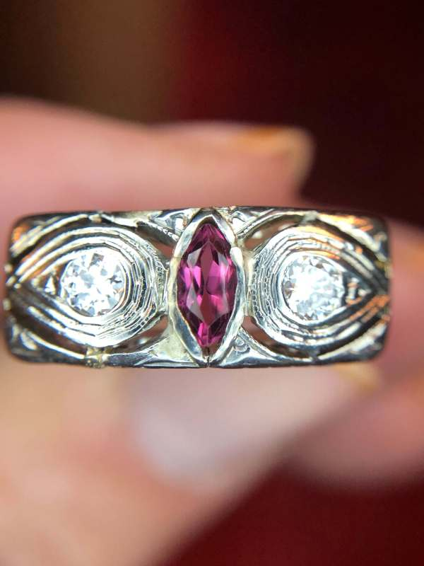 "Edwardian 14kt White Gold Ruby and Diamond ""Owl"" Ring (Vintage)"