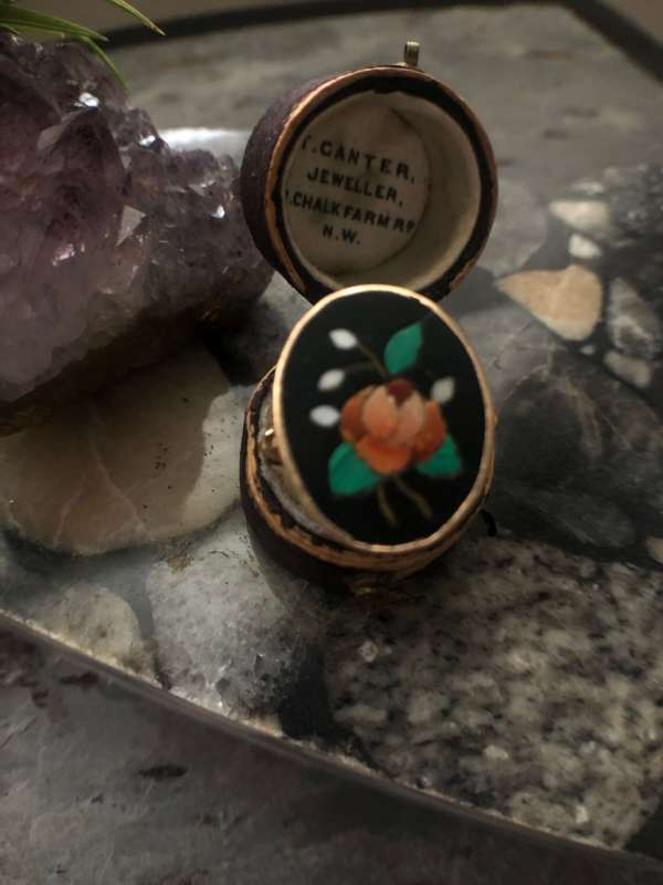 Pietra Dura Onyx and Hardstone Ring (Vintage)