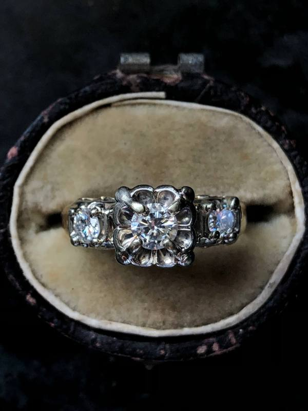 Retro Two-Tone Gold Diamond Engagement Ring (Vintage)
