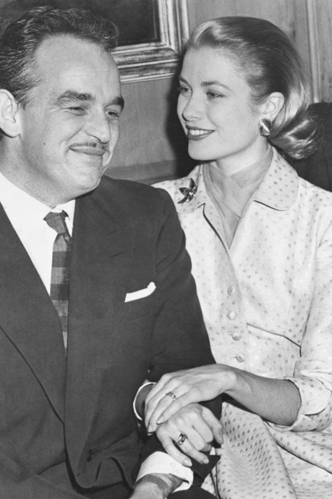 Grace Kelly and Prince Rainier shortly after their engagement.