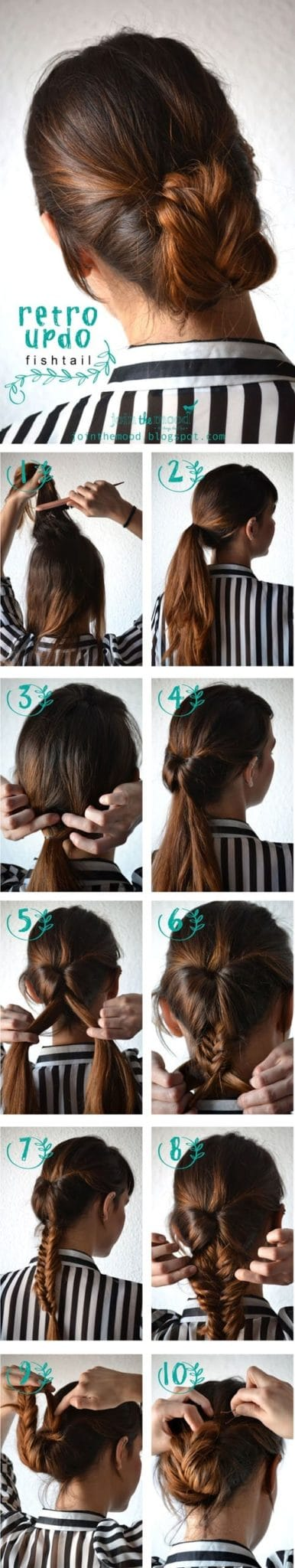 Retro Updo Fishtail on Hairstyles-Tutorial.blogspot.com