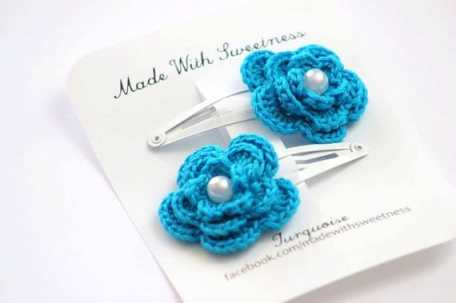 Turquoise Flower Hand Crocheted Hair Clip by Made With Sweetness