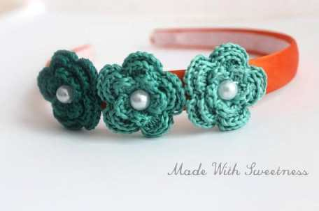 Orange and Aquamarine Satin Headband by Made With Sweetness