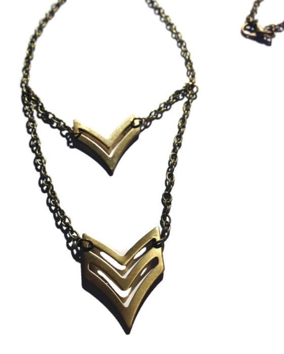 Double Chevron Necklace by Katie Crafts on Etsy