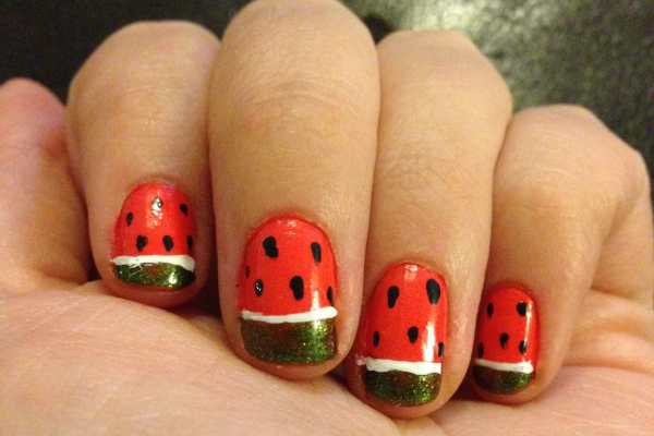 Watermelon Nail Art Design by Katie Crafts; https://www.katiecrafts.com