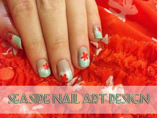 Seaside Nail Art Design by Katie Crafts; http://www.katiecrafts.com