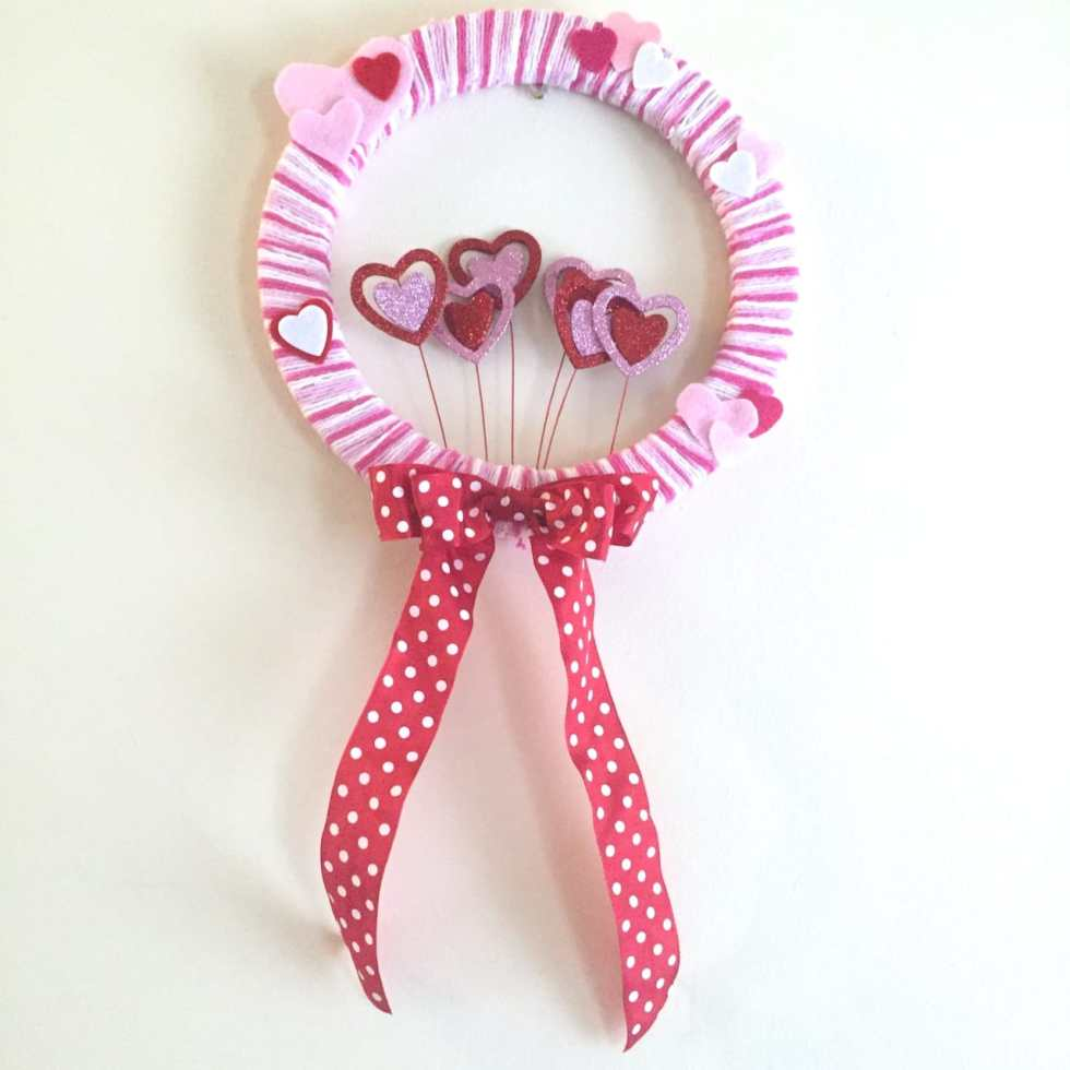 DIY Valentine's Wreath Tutorial by Katie Crafts; http://www.katiecrafts.com