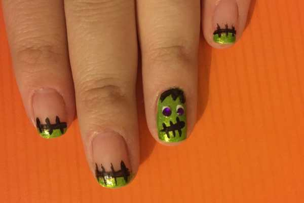 Frankenstein Nail Art Tutorial on Katie Crafts; https://www.katiecrafts.com