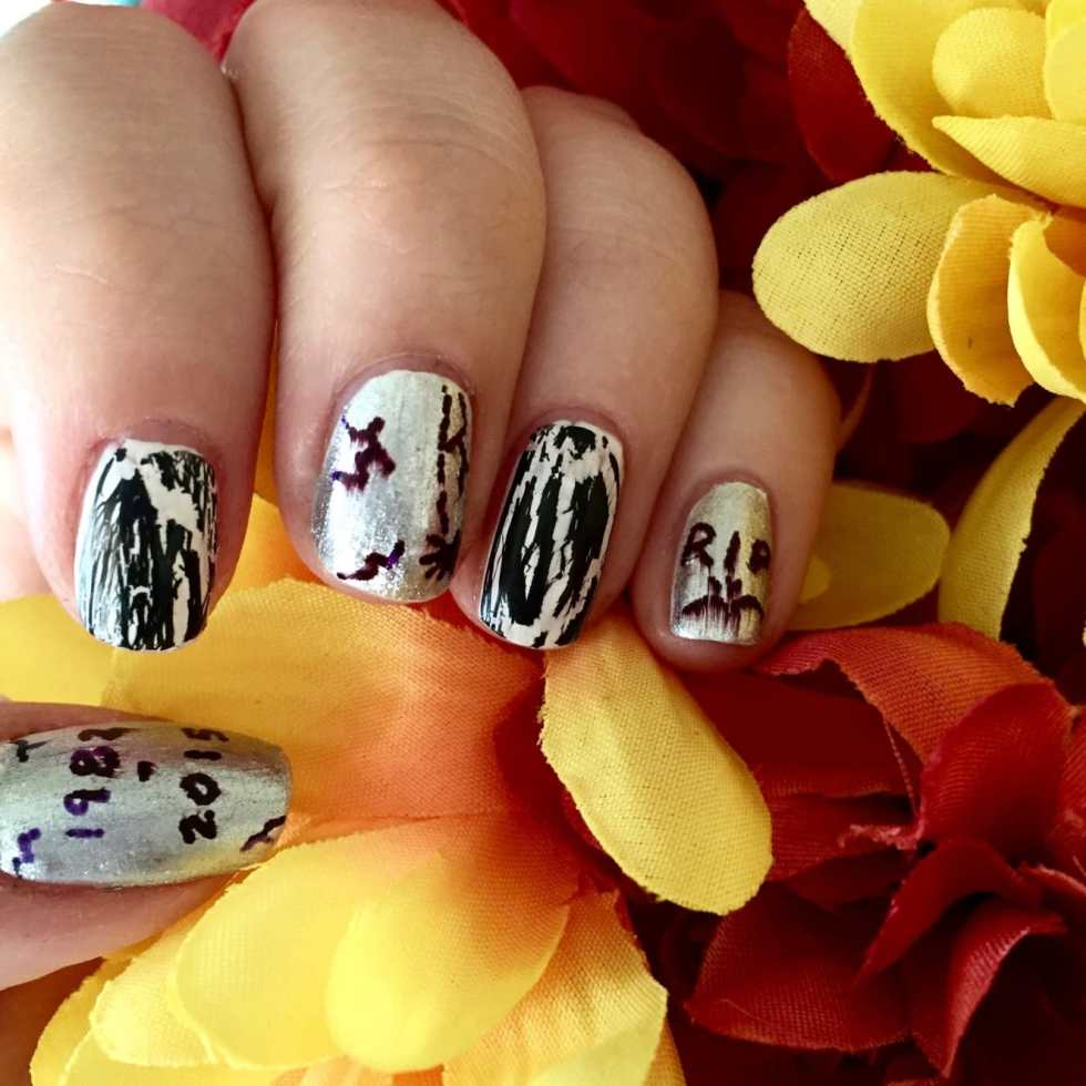 Tombstone Nail Art Tutorial for Halloween on Katie Crafts; http://www.katiecrafts.com