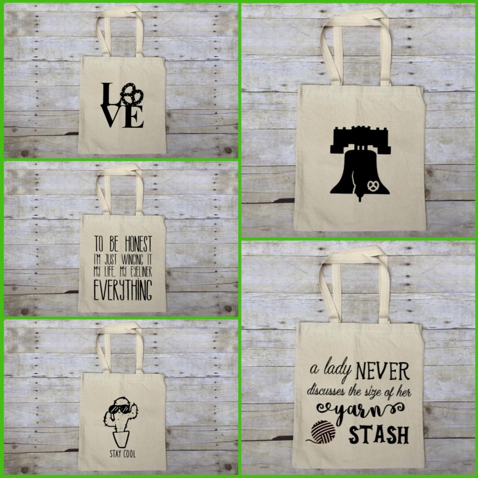 Sample of Tote Bags For Sale on Katie Crafts; https://katiecrafts.com