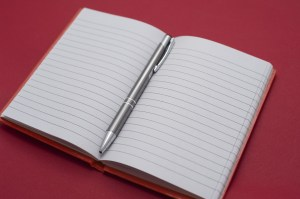 Open notebook with a ballpoint pen in the center