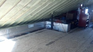 April 2014: Good look at the duct work, which will be hidden behind a knee wall. Where those boxes and the toolbox is will be a closet.
