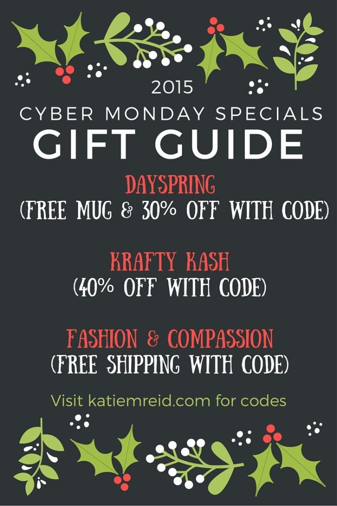 Cyber Monday Sales Gift Guide 2015 by Katie M. Reid