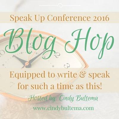 Speak Up conference 2016 blog hop button for Cindy Bultema