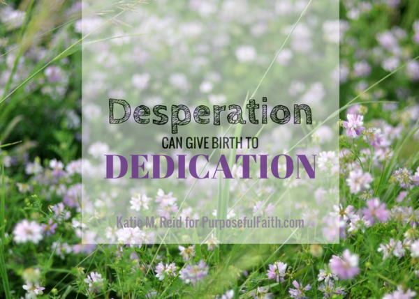 Desperation can give birth to dedication quote by Katie M. Reid for Kelly Balarie's Purposeful Faith