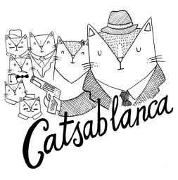 Casablanca cat pun illustration