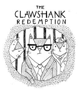 The Shawshank Redemption cat pun illustration