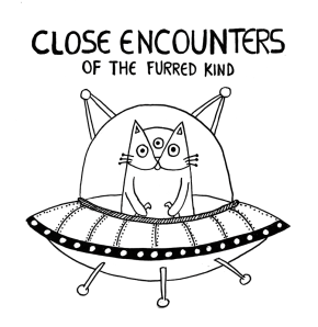Close Encounters of the Third Kind cat pun illustration