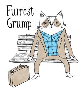 Forrest Gump cat pun illustration featuring grumpy cat