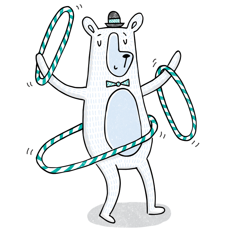 Hula Hooping Bear Illustration