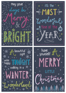 christmas card greetings card typography typographic handdrawn merry and bright wonderful time of year winter wonderland merry little christmas