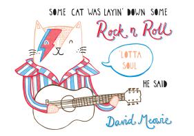 David Bowie cat pun illustration