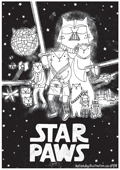 cat pun the punderful world of cats illustration colouring in coloring in page A4 free print out star wars
