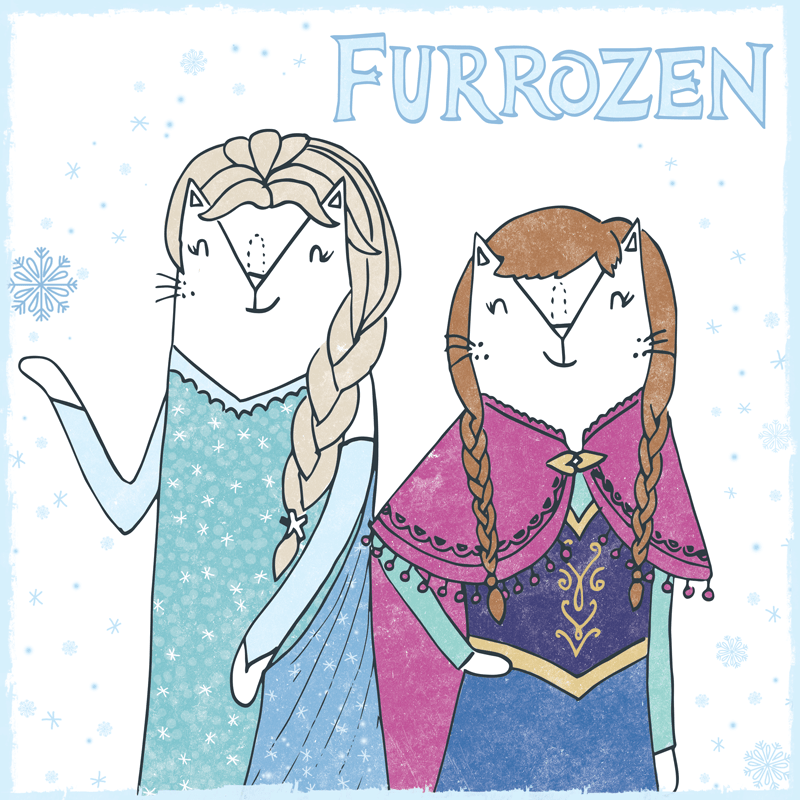 Frozen cat pun illustration