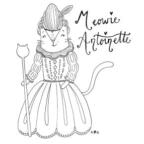 Marie Antionette cat pun illustration