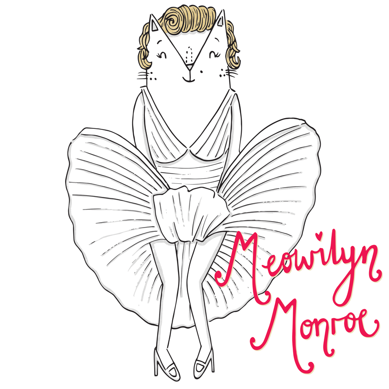 Marilyn Monroe cat pun illustration