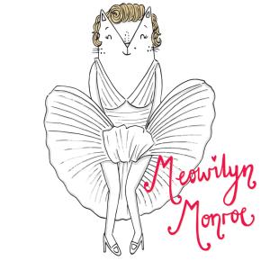 Marilyn Monroe cat pun illustration