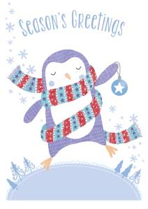 penguin christmas greetings card design illustration character scarf bauble snowflakes