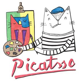 Pablo Picasso cat pun illustration
