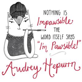 Audrey Hepburn cat pun illustration