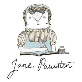 Jane Austen cat pun illustration