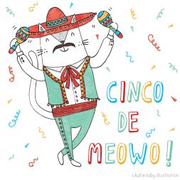 cinco de mayo cat pun illustration