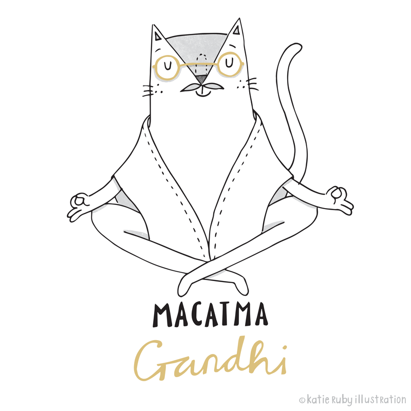 Gandhi Cat Pun Illustration